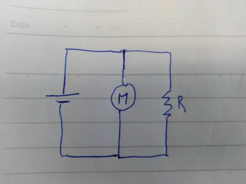 Sketch the circuit labeling the meter and bulb as two separate resistors connected in parallel to th