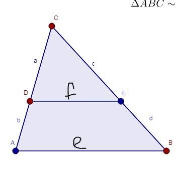 In the figure below the segment is parallel to one side of ...